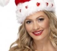 santa love heart hat